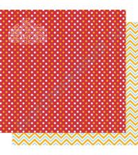 Бумага для скрапбукинга двусторонняя, коллекция Мой яркий мир, 30х30 см, 250 гр/м2, лист Зигзаги и точки
