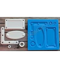 Форма силиконовая (молд) для полимерной глины, Набор табличек, 5 элементов