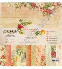 Набор бумаги Золотая осень, 30.5х30.5 см, 190 гр/м, 12 двусторонних листов + 4 листа с карточками