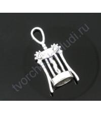 Подвеска металлическая Штопор, 11х27 мм, цвет серебро