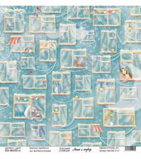 Бумага для скрапбукинга односторонняя, коллекция Маша и медведь, 30.5х30.5 см, 190 гр\м2, лист Взгляни в окошко