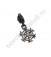 Декоративный элемент Бегунок со Снежинкой, 20х40 мм, цвет черненое серебро