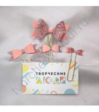 Набор декоративных Бантиков-2 на скрепках, 4 шт, цвет розовый с глиттером