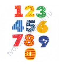 Набор декоративных резиновых пуговок Цифры, 10 штук