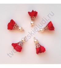 Декоративная кисточка из ткани, длина кисточки 3 см, 1 шт, цвет красный
