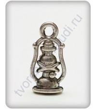 Подвеска металлическая Керосиновая лампа, 7х17 мм, цвет серебро