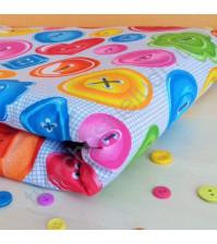 Ткань для лоскутного шитья Разноцветные Пуговки, 50х55 см