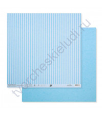 Бумага для скрапбукинга двусторонняя Базовая Полоска 30.5х30.5 см, 180 гр/м2, лист Голубой
