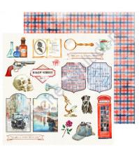 Бумага для скрапбукинга односторонняя Sherlock Holmes, 30.48х30.48 см, 190 гр/м, лист 8