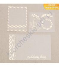 Набор оверлеев (прозрачных карточек) с золотым фольгированием Wedding day, 3 элемента