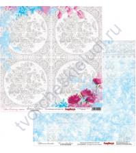 Бумага для скрапбукинга двусторонняя, коллекция Цветочная вышивка, лист Схема для вышивания