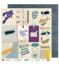 Бумага для скрапбукинга двусторонняя, 30.5х30.5 см, плотность 190 гр/м2, коллекция Вне рамок, лист Сегодня твой день