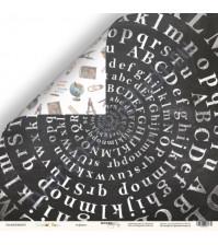 Бумага для скрапбукинга двусторонняя 30.5х30.5 см, 190 гр/м, коллекция School Days, лист Алфавит