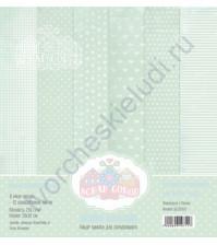 Набор односторонней бумаги для скрапбукинга Базовая зеленая, 30х30 см, 250 гр/м, в наборе 12 листов