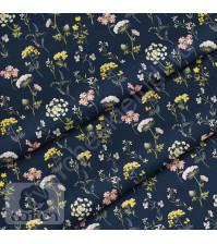 Ткань для рукоделия Полянка ночь, 100% хлопок, плотность 150 гр/м2, размер отреза 25х80 см