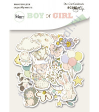 Набор высечек (вырубок) Boy or Girl, плотность 250 гр/м, 54 элемента