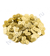 Пайетки плоские круглые с эффектом металлик 8 мм, 10 гр, цвет золото