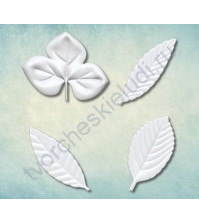 Форма силиконовая (молд) для полимерной глины Набор листьев-6, 4 элемента