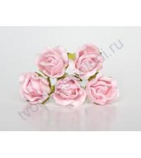Бутоны роз большие полураскрытые, 5 шт, цвет св.розовоперсиковый