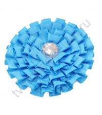 Цветок из ткани с хрустальной сердцевинкой, диаметр 8 см, цвет голубой