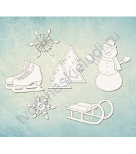 Чипборд набор Зимние развлечения, 6 элементов