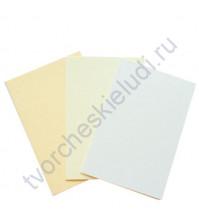 Набор заготовок для открыток текстурированных формат 10х15 см, 3 штуки, 230 гр/м2, цвет Белый, Ванильный, Бежевый