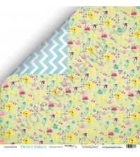 Бумага для скрапбукинга односторонняя 30.5х30.5 см, 190 гр/м, коллекция Sweet Girl, лист Полевые цветы