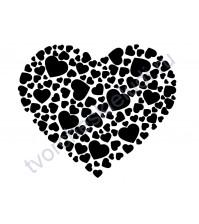 Декор из термотрансферной пленки Сердце из сердец, 8.6х10 см, цвет в ассортименте