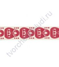 Тесьма декоративная хлопковая Матрешки, цвет красный, ширина 16 мм, уп. 3 метра