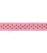 Лента атласная 6 мм с рисунком Точки на розовом, 1 метр