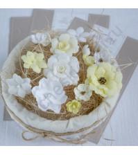 Цветы ручной работы из ткани, 14 шт, цвет жёлто-белый микс