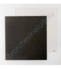 Бумага для скрапбукинга двусторонняя Базовая 30.5х30.5 см, 180 гр/м2, лист Черно-белый