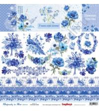 Бумага для скрапбукинга односторонняя, коллекция Ноктюрн в голубых тонах, 30.5х30.5 см, 190 гр/м, лист Cards 2