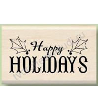 Штамп из резины на деревянной оснастке Happy Holidays, 5х3.2 см