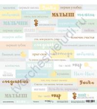 Бумага для скрапбукинга односторонняя 30.5х30.5 см, 190 гр/м, коллекция Smile Baby, лист Надписи