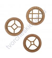 Набор круглых Окошек-1, 3 элемента, диаметр 49 мм, цвет махагон