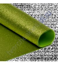 Фоамиран с глиттером, 2 мм, формат А4, цвет зеленый блеск