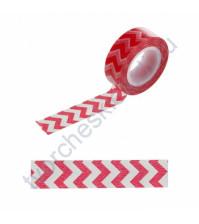 Бумажный скотч с принтом Зигзаг розовый, 1.5см х 10 м