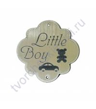 Зеркальная бирка круглая Little Boy, 50х50 мм, цвет серебро