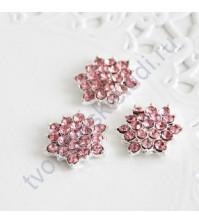 Декоративный элемент со стразами 15 мм, цвет розовый