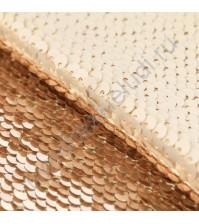 Декоративный материал Перевертыш из пайеток, плотность 420 гр/м2, размер 33х33 см, цвет молочно-золотой
