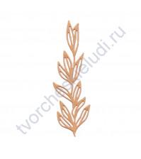 Вырубка из дизайнерской бумаги Ветвь с резными листьями, 34х102 мм, цвет в ассортименте