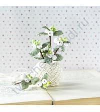 Цветы ручной работы из ткани Снежноягодник, 4 веточки