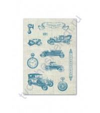 Тканевые льняные стикеры Авто Винтаж-1, 11 элементов
