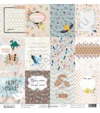 Бумага для скрапбукинга односторонняя, коллекция Бумажные птицы, 30.5х30.5 см, 190 гр\м2, лист Карточки