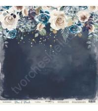 Бумага для скрапбукинга односторонняя с фольгированием 30.5х30.5 см, 190 гр/м, коллекция Blue and Blush, лист Глубина