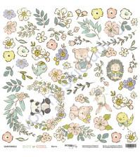 Бумага для скрапбукинга двусторонняя, коллекция Boy or Girl, 30.5х30.5 см, 190 гр\м2, лист для вырезания Цветы