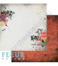 Бумага для скрапбукинга двусторонняя коллекция Город контрастов, 30.5х30.5 см, 190 гр/м, лист Кирпичная стена