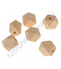 Бусины деревянные Многогранник, без покрытия, 10x10 мм, 1 штука