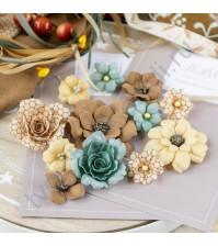 Цветы ручной работы из ткани и замши, 12 шт, цвет осенний пруд